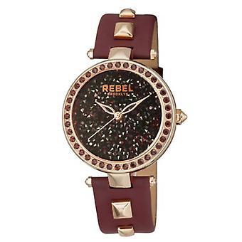 Rebel Women-apos;s RB101-8181 Rockaway Parkway Rose-Gold IP Burgundy Leather Watch