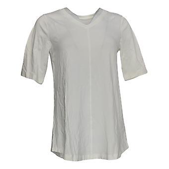 Denim & Co. Femmes&apos&s Top Essentials V Neck Elbow Sleeve Blanc A278986