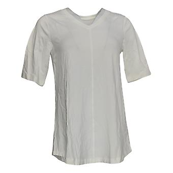 Denim & Co. Women's Top Essentials V Neck Elbow Sleeve White A278986
