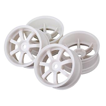 White Plastic 7-Spoke Wheel Rims with Hole for RC1:10 On Road Car Set of 4