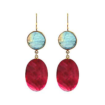Gemshine earrings red quartz ovals and grey labradorites in 925 silver