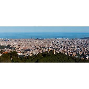 Luftfoto af en by Barcelona Catalonien Spanien plakat Print