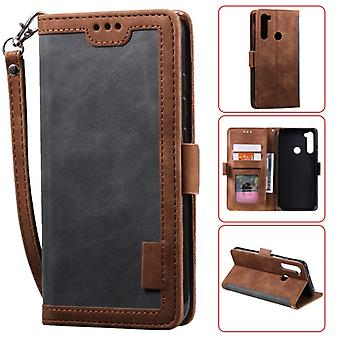 Pour Xiaomi Redmi Note 8 Retro Splicing Horizontal Flip Leather Case with Card Slots & Titulaire & Portefeuille (Gris)