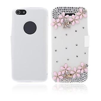 Flip Leather Bling Flower Case Cover PU Skóra do iPhone'a 5 5s White