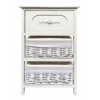 White Slim 3 Drawer Bedside Table Cabinet
