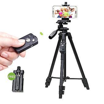 永腾 VCT-5208RM 铝镁合金腿三脚架安装蓝牙遥控器 |三脚架头 |用于 SLR 相机的手机夹子 |智能手机, M