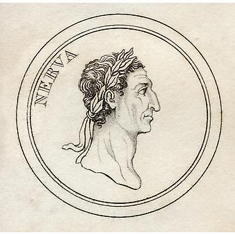 Nerva Caesar Augustus Original Name Marcus Cocceius Nerva 30-98Ad Roman Emperor From The Book Crabbs Historical Dictionary Published 1825 PosterPrint