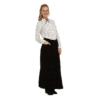 Lisa full length corduroy skirt - black