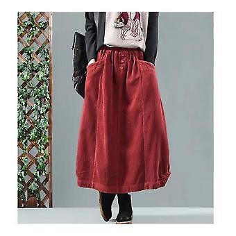 Spring Autumn Casual Ladies Bud Skirts Vintage Women Elastic Waist Winter