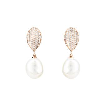 Baroque Pearl Drop Earrings CZ Pink Rose Gold Large Big Party Natural Statement