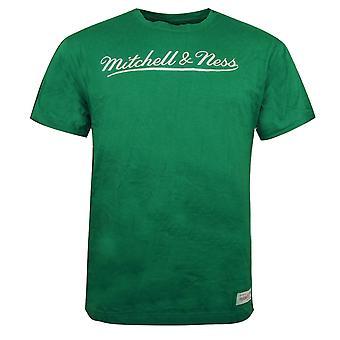 Mitchell & Ness Script Logo Trad Tee Branded T-Shirt Green BRASCRIPTLOGO