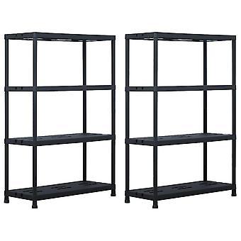 Storage shelves 2 pcs. black 220 kg 90 x 40 x 138 cm plastic