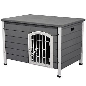 PawHut Wooden Dog Kennel Crate Pet House Wire Door Openable Top Removable Bottom Grey 80 x 55 x 53.5cm