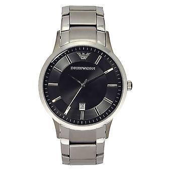 Armani Ar2457 Gents Zilver en Zwart Horloge