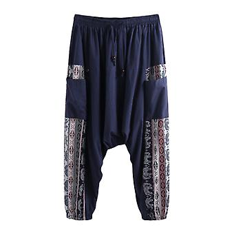 Pantalon baggy pour jambes larges homme, elastic loose casual drawstring high waist male