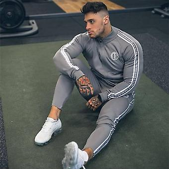 Sports Suit Men Bodybuilding Hoodies + Pants Set, Men Sports Suits Zipper