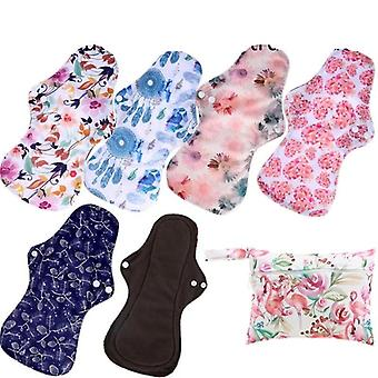 Reusable Bamboo Charcoal Sanitary Regular Flow Cloth  Pads Health Higiene