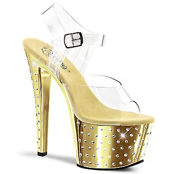 Pleaser zapatos para mujer STARDUST-708 Clr/Gold Chrome