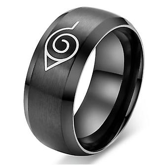 Naruto Ring Leaf Symbol, Black Fashion Titanium Steel Anime Jewelry Cosplay