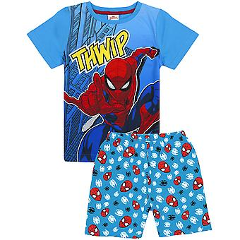 Marvel Spiderman Pyjamas Boys Kids Blue Short Cotton Pjs Nočné prádlo