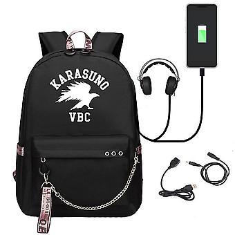 Haikyuu Luminous Rucksack USB Charging Student School Bag