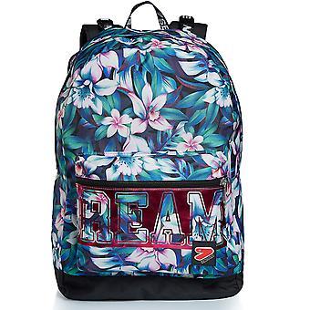 Der Doppel-Rucksack - Träume Blumen - Reversible -Blau