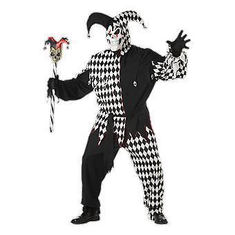 Mens Black & White Evil Jester Plus Size Halloween Medieval Fancy Dress Costume