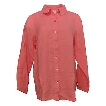 Coleção Joan Rivers Classics Women's Top Long-Sleeve Shirt Pink A351489