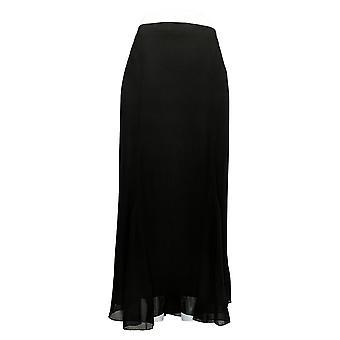 Antthony Skirt Chiffon Overlay Printed Gore Elastic Waist Black 716-483