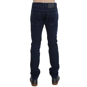 Acht Dark Blue Cotton Slim Skinny Fit Jeans