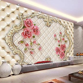 ثلاثي الأبعاد روز لينة حقيبة الفن غرفة غرفة غرفة نوم التلفزيون خلفية الجدار القماش