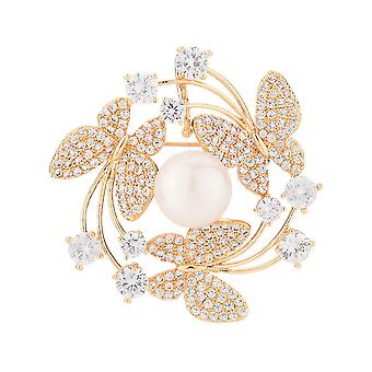 Highend Corsage Butterfly Circle Women Brooch Zircon Inlaid Copper Brooch Pin