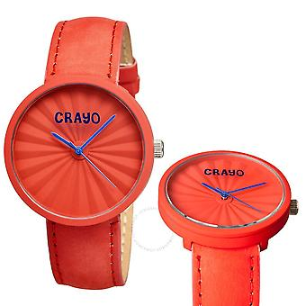 Crayo Pleats Quartz Red Dial Red Leather Unisex Watch CR1505