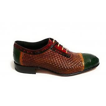 Men's Shoes Harris French Weave Honey / Red/ Print Emerald Green Coconut Handmade U17ha90