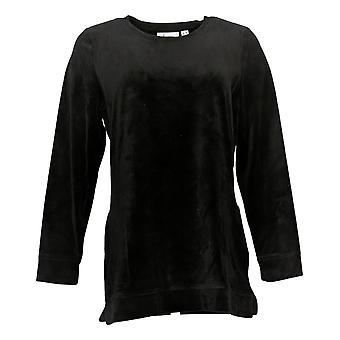 Denim & Co. Women's Top Velour Poches tuniques à manches longues Noires A390299