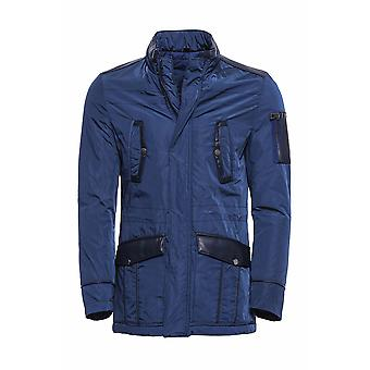 Leather modeled blue slim fit quilted jacket
