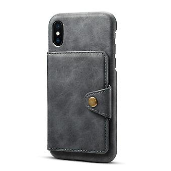 Wallet leather case card slot for iphone xs/x dark gray no4878