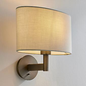 Endon Collection  Owen Ellipse Switched Antique Bronze Wall Light Taupe Shade