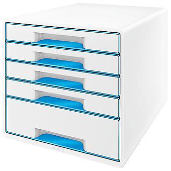 Leitz WOW Drawer Cabinet CUBE 5 Drawer white blue