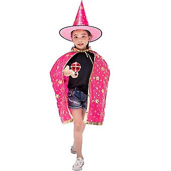 Wizard Cape Witch Cloak With Hat, Halloween Costume For Kids Cosplay Party(Rose Red)