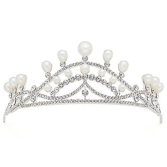 Waterdrop Pearl Rhinestone Tiara Combs Crown Pageant Wedding Bridal Hair Accessories For Women