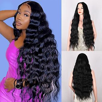 Synthetic wigs   super long curly  hair  water wave wigs heat resistant  in the middle part