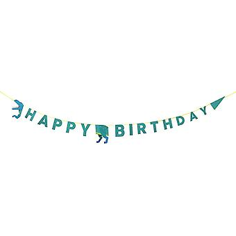 DINO-GARLAND Party Dinosaurier Alles Gute zum Geburtstag Girlande 3.5M, Paper, Mehrfarbig