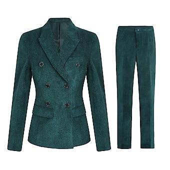 Allthemen Women's Office Formal Office Lady Suede Double Breasted Two-piece Suit Trousers & Jacket
