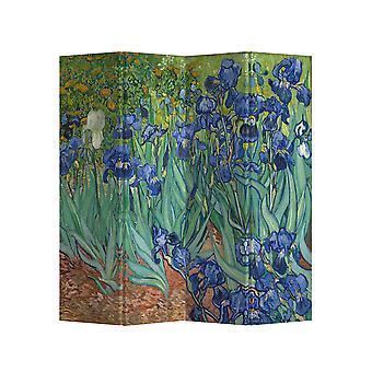 Feine asianliving Room Divider Sichtschutz L160xH180cm 4 Panel Iris Van Gogh
