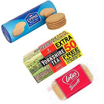 Lyons Kit gemaakt van 3 producten | 1 x Yorkshire Tea Original Red Label 210 Theezakjes 656g, 1 x Lyons Rich Tea Biscuits 300g, 1 x Lotus Gekarameliseerde Koekjes in Individueel Verpakt