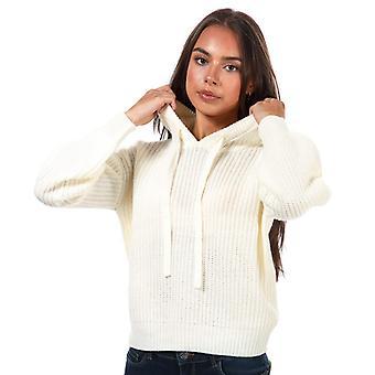 Brave Soul Rib Knit Hooded Jumper in Cream pour femmes