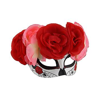 Spider Web DOD Sugar Skull Costume Mask w/Pink and Red Floral Headdress