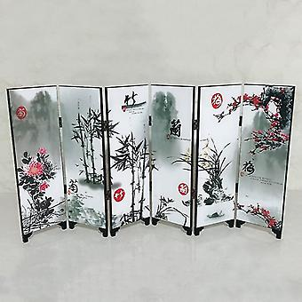 6 Panel Flower Bamboo Screen - Home Room Divider Wood Folding Partition Screen