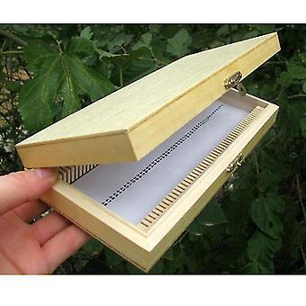 Hölzerne Mikroskop Objektträger Box 50pcs biologisch pathologische Objektträger Aufbewahrungsbox tragbares Rechteck